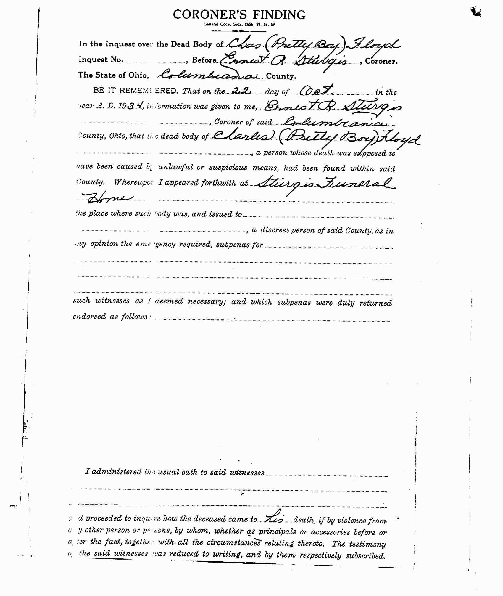 Page 2 of the Coroner's report